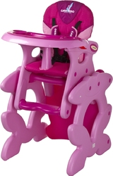 Caretero Primus Różowe Krzesełko do karmienia + stolik + PUZZLE