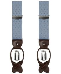 Jasnoszare szelki męskie do spodni, w brązowe kropki, uniwersalne, na guziki lub na klipsy