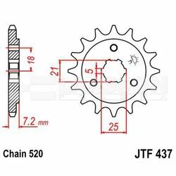 Zębatka przednia JT F437-15, 15Z, rozmiar 520 2200462 Suzuki DR 650