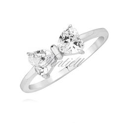 Srebrny pierścionek pr.925 kokardka z białą cyrkonią serce