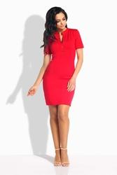 Czerwona Sukienka Dopasowana przed Kolano z Guzikami