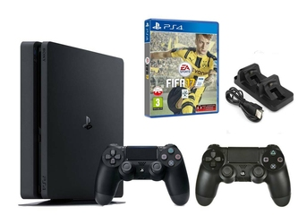 KONSOLA SONY PS4 1TB SLIM + 2 PADY + FIFA 17 + ŁADOWARKA