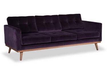 Sofa fern z funkcją spania welurowa 3-osobowa  deluxe - welur łatwozmywalny siena