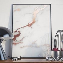 Plakat w ramie - rose gold marble , wymiary - 70cm x 100cm, ramka - biała