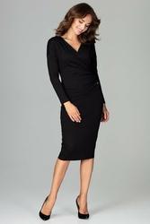 Czarna ołówkowa sukienka z kopertowym dekoltem