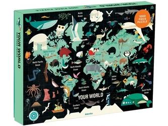Mapa świata tekturowe puzzle rodzinne 1000 el.