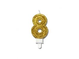 Świeczka cyferka brokatowa złota - 8 - 1 szt.