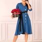 Indygo rozkloszowana sukienka zapinana na guziki