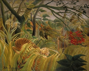Reprodukcja iger in a tropical storm - surprised, henri rousseau