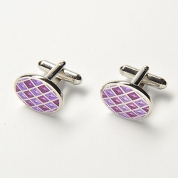 Eleganckie spinki do mankietów owalne w liliową i fioletową szachownicę
