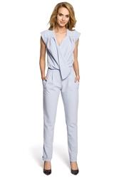 Elegancki kombinezon - spodnium bez rękawów błękitny moe196