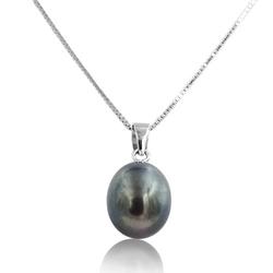 Aiko nero srebrny naszyjnik z naturalną czarną perłą