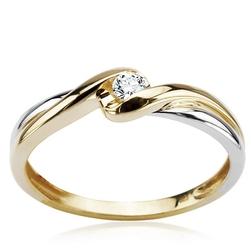 Staviori pierścionek z białego i żółtego złota 0.585 z diamentem, szlif brylantowy, masa 0,07 ct., barwa j, czystość i1.