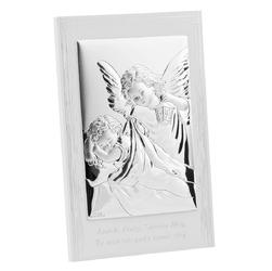 Obrazek anioł stróż z modlitwą na białym drewnie grawer