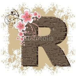 Obraz na płótnie canvas czteroczęściowy tetraptyk różowy hibiskus grunge vintage alfabet r