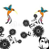 Obraz na płótnie canvas dwuczęściowy dyptyk kwiat i kolibri