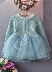 Wizytowa turkusowa sukienka dla dziewczynki z tiulową spódnicą 939