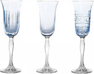 Kieliszki do szampana veranda 3 szt. błękitne