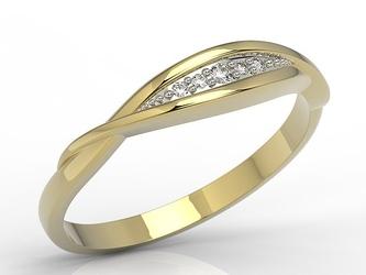 Pierścionek z żółtego złota z cyrkoniami ap-76z-r-c
