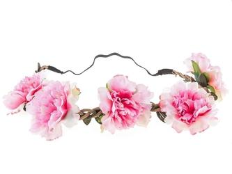 Wianek opaska do włosów kwiaty piwonie. różowy - różowe