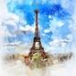Paryż akwarele - plakat wymiar do wyboru: 80x60 cm