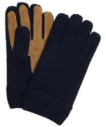 Eleganckie męskie granatowe rękawiczki profuomo z wełny i skóry 9,5