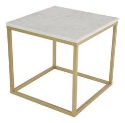 Rge :: stolik kawowy accent 50 x 50 cm marmurowy - mosiężna rama