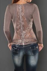 Sweter z koronka na plecach i cyrkoniami, mokka 044