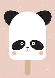 Wesołe lody panda na różowym tle - plakat Wymiar do wyboru: 61x91,5 cm