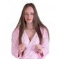 Gruby ciepły szlafrok damski z kapturem różowy