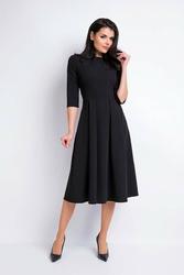 Czarna wizytowa sukienka midi z szerokim dołem