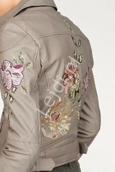 Damska skórzana kurtka z jagnięcej skóry nappa zdobiona kwiatowym haftem - laura scott, 100 skóra