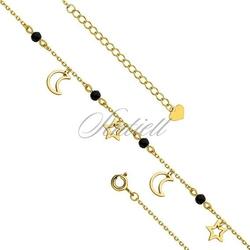 Srebrna pozłacana bransoletka na nogę pr.925 z księżycami i gwiazdkami - żółte złoto