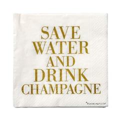 Serwetki Save Water Drink Champagne 20 szt. złoty napis