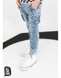 Niebieskie spodnie jeans z dzianiny
