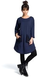 Granatowa codzienna trapezowa sukienka tunika z kieszeniami