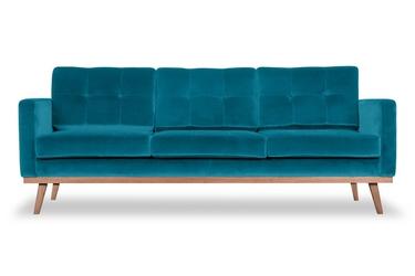 Sofa fern z funkcją spania welurowa 3-osobowa  welur bawełna 100 turkusowy