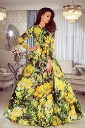 Zwiewna suknia w żółte kwiaty  linda