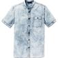 Koszula dżinsowa z krótkim rękawem slim fit bonprix niebieski moon