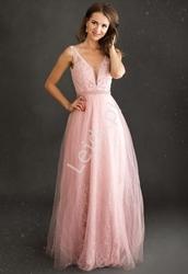 Brudno różowa sukienka na wesele  koronkowa z perełkami 208