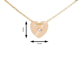Srebrny pozłacany naszyjnik pr. 925 serce z cyrkonią grawer