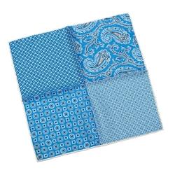 Elegancka niebiesko-biała poszetka w cztery wzory