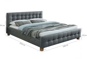 Łóżko tapicerowane madame 160x200 szare pikowane