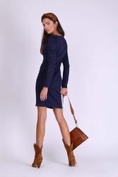 Granatowa ołówkowa sukienka z drapowanym rękawem