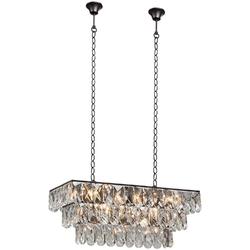 Lampa wisząca prostokątna z dużych kryształów, dwa łańcuchy vitaluce ve5265-123