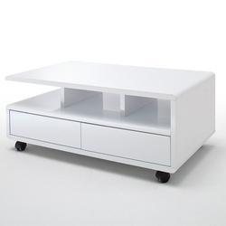 Biały nowoczesny stolik kawowy chris na kółkach  100x60 cm