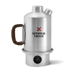 Aluminiowa kuchenka czajnik turystyczny survival kettle srebrna - zestaw