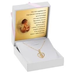 Złoty medalik z matką boską w serduszku łańcuszek pr. 333 dedykacja różowa kokardka