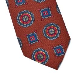 Rudy krawat wełniany van thorn w duży wzór
