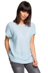 Błękitny asymetryczny sweter z krótkim kimonowym rękawem